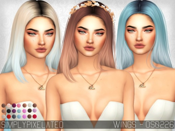 The Sims Resource: Wings OS0226 hair retextured by SimplyPixelated for Sims 4