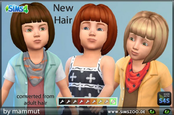 Blackys Sims 4 Zoo: Short Bob hair by mammut for Sims 4