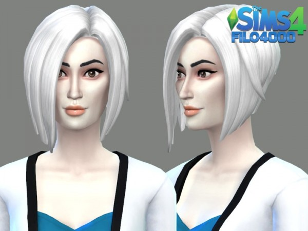 The Sims Resource: White Hair Recolor 15 by filo4000 for Sims 4