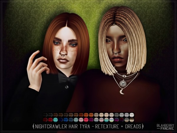 The Sims Resource: Nightcrawler`s Tyra hair set retextured by Blahberry Pancake for Sims 4