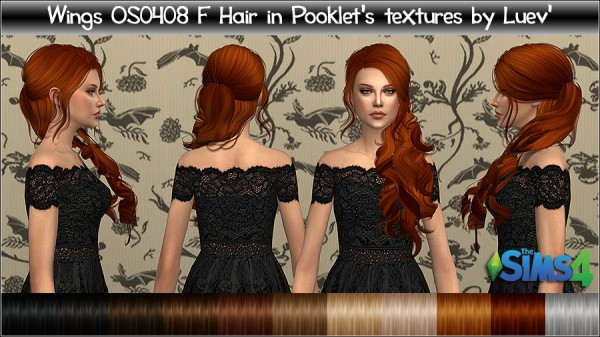 Mertiuza: Wings OS0408F hair retextured for Sims 4