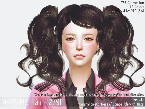 MAY Sims: May Hair 279F hair retextured for Sims 4