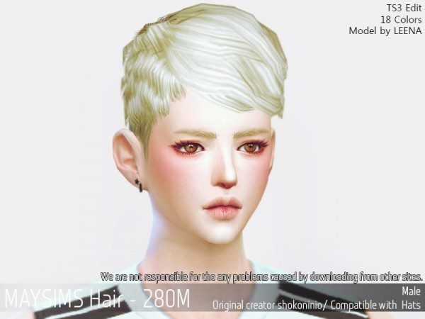 MAY Sims: May Hair 280M hair retextured for Sims 4