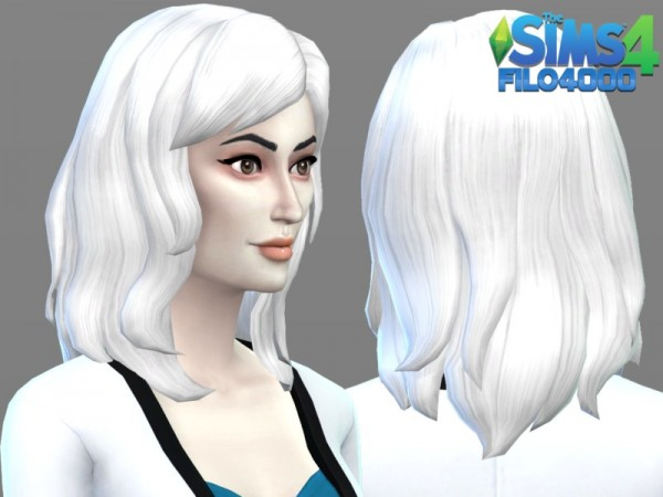 The Sims Resource: White Hair Recolor 17 by filo4000 for Sims 4