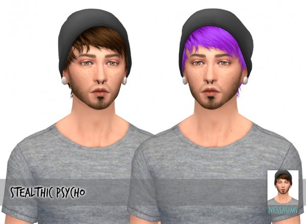 Nessa sims: Stealthic`s Psycho hair retextured for Sims 4