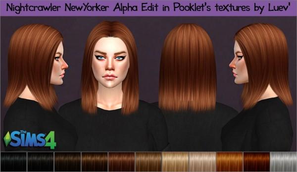 Mertiuza: Nightcrawler`s Newyorker hair retextured for Sims 4