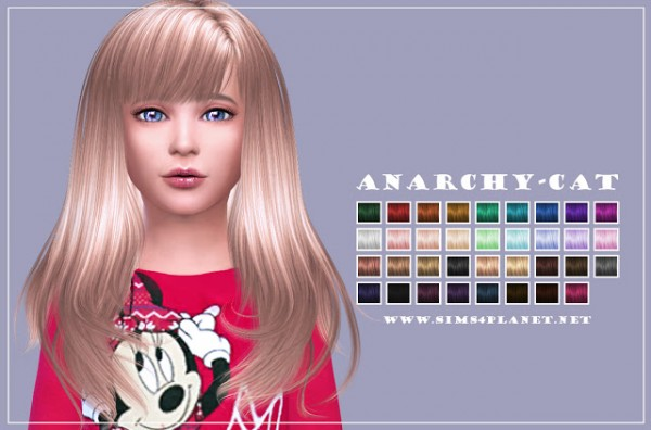 Anarchy Cat: Anto` Romance hair retexured for girls for Sims 4