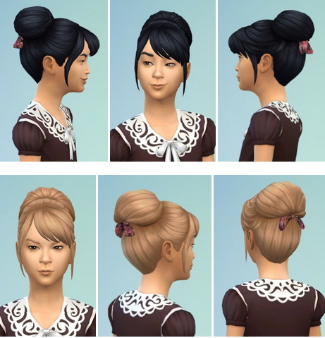 Birksches sims blog: Kids Bow Bun hair for Sims 4