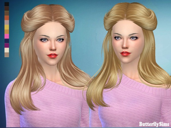 Butterflysims: Hair 183 No hat for Sims 4
