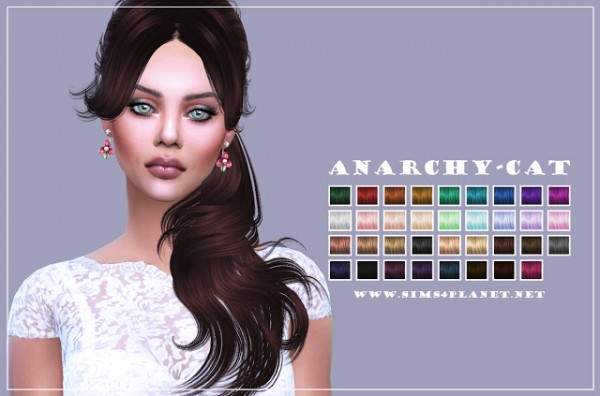 Anarchy Cat: Newsea`s YU125 Liela hair retextured for Sims 4