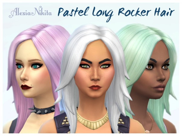 The Sims Resource: Pastel Long Rocker hair retextured by ALExIA483 for Sims 4