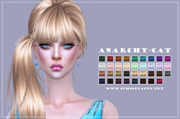 Anarchy Cat: Newsea`s J074 Breath hair retextured for Sims 4