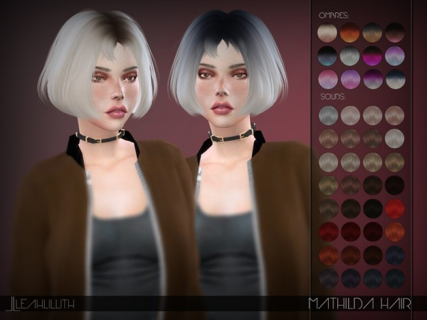 The Sims Resource: Mathilda Hair by LeahLillith for Sims 4