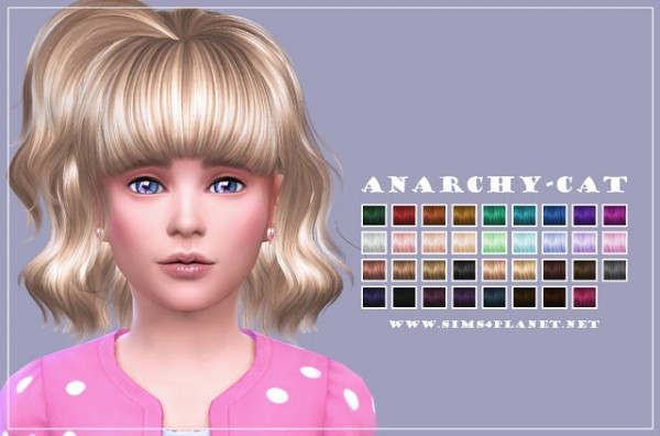 Anarchy Cat: Hair 81G retextured for Sims 4
