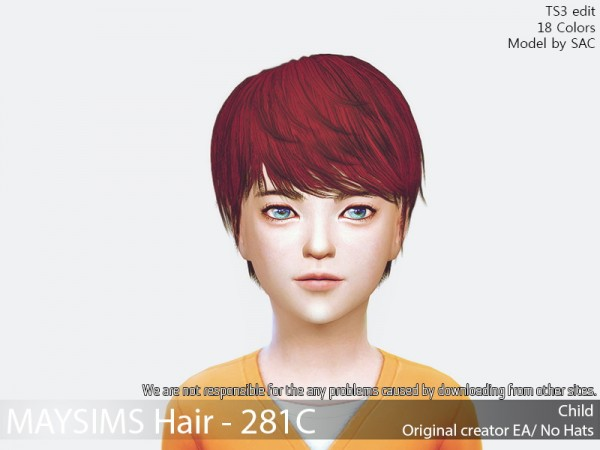 MAY Sims: MAY 281C hair retextured for Sims 4
