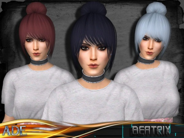 The Sims Resource: Beatrix hair by Ade Darma for Sims 4