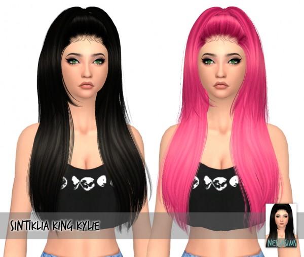 Nessa sims: Sintiklia`s King Kylie hair retextured for Sims 4