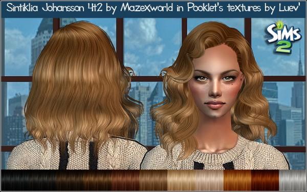 Mertiuza: Sintiklia`s Johansson Mazexworld hair retextured for Sims 4