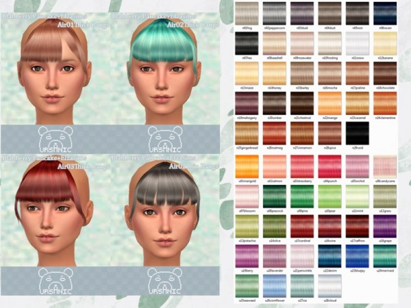 The Sims Resource: Blahberry Pancakes Elza Bangs hair retextured by Ursanic for Sims 4