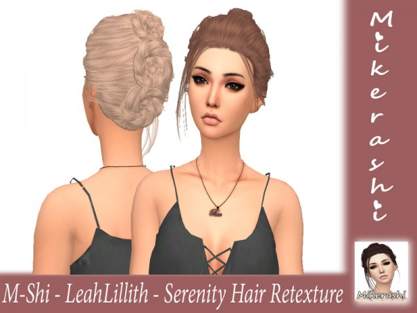 The Sims Resource: LeahLillith`s Serenity Hair Retextured by mikerashi for Sims 4