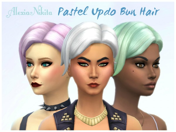 The Sims Resource: Pastel Updo Bun Hair recolored by ALExIA483 for Sims 4