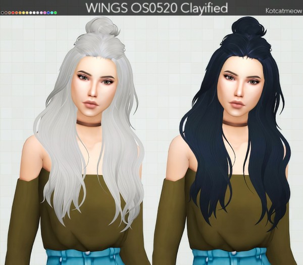 Kot Cat: WINGS OS0520 Hair Clayified for Sims 4