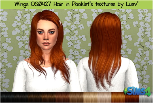 Mertiuza: Wings OS0427f hair retextured for Sims 4