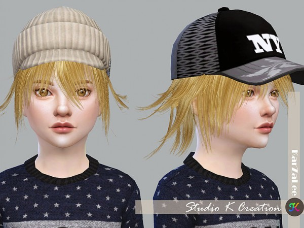 Studio K Creation: Animate hair 80   Yuji for kids for Sims 4