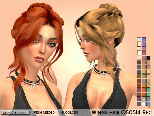 The Sims Resource: Wings OS0514 hair retextured for Sims 4