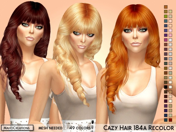 The Sims Resource: Cazy`s  184 hair recolor (with bangs) by MahoCreations for Sims 4