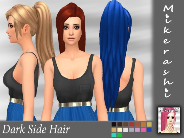 Mikerashi: Dark Side Hair retextured for Sims 4