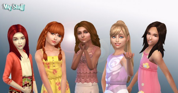 Mystufforigin: Girls Long Hair Pack 10 for Sims 4