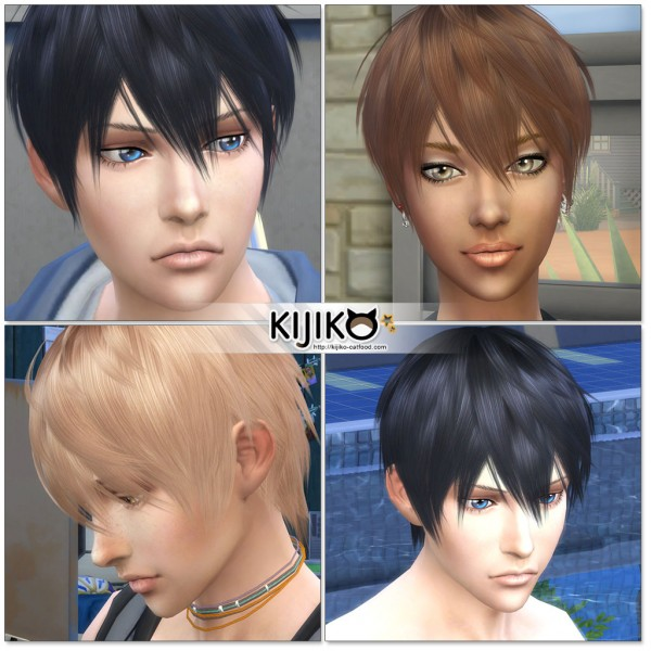 Kijiko Sims: Loves to Swim hair retextured for Sims 4