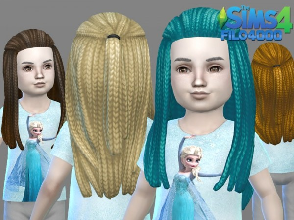 The Sims Resource: Toddler Hair 03: Canerows hair recolored by filo4000 for Sims 4