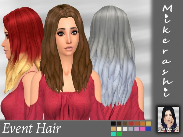 Mikerashi: Event Hair retextured for Sims 4
