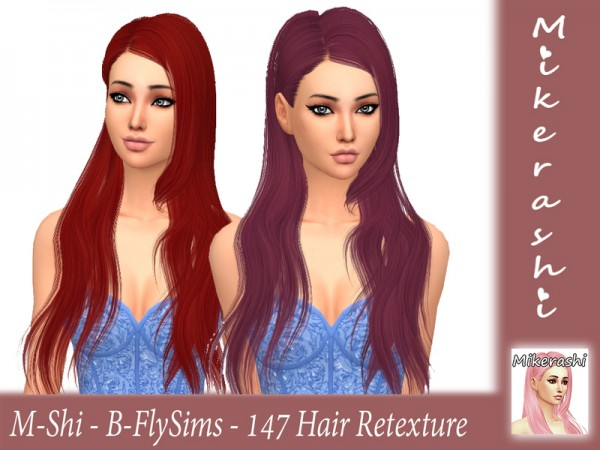 The Sims Resource: B FlySims   147 Hair Retextured by mikerashi for Sims 4