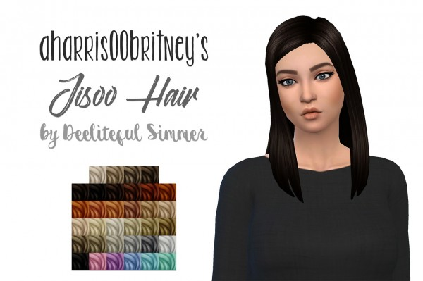 Deelitefulsimmer: Jisoo hair retextured for Sims 4