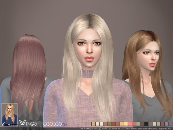 The Sims Resource: WINGS OS0530 hair for Sims 4