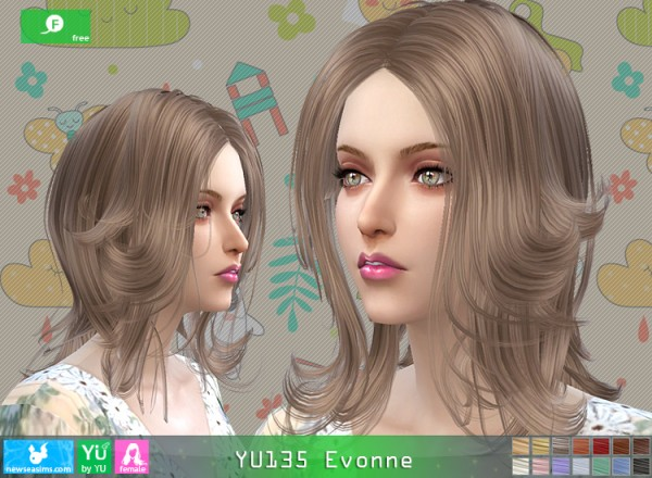 NewSea: Yu 135 Evonne hair for Sims 4
