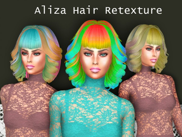 The Sims Resource: Aliza hair retextured by Sharareh for Sims 4