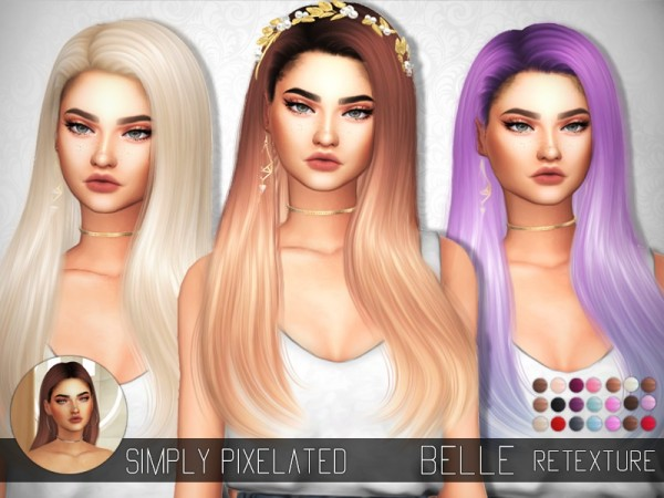 The Sims Resource: S Club`s Belle hair retextured by SimplyPixelated for Sims 4