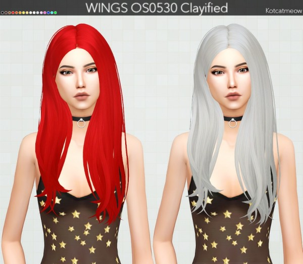 Kot Cat: WINGS OS0530 Hair Clayified for Sims 4