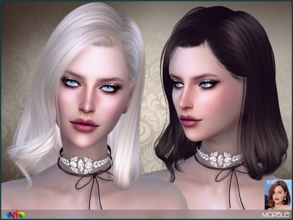 The Sims Resource: Marble hair by Anto for Sims 4