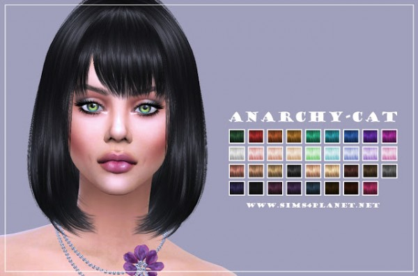 Anarchy Cat: Kewai Dou Cecile Hair retextured for Sims 4