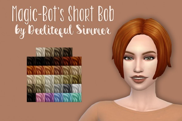 Deelitefulsimmer Magic Bot Short Bob Hair Sims 4 Hairs