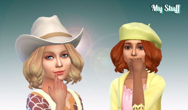 Mystufforigin: Confident hair curls for Girls for Sims 4