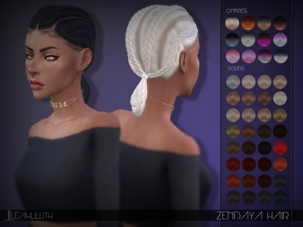 The Sims Resource: Zendaya Hair by Leahlillith for Sims 4
