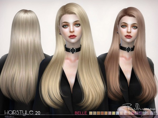 The Sims Resource: Belle hair n20 by S Club for Sims 4
