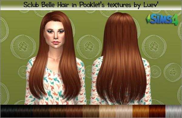 Mertiuza: Sclub`s Belle hair retextured for Sims 4