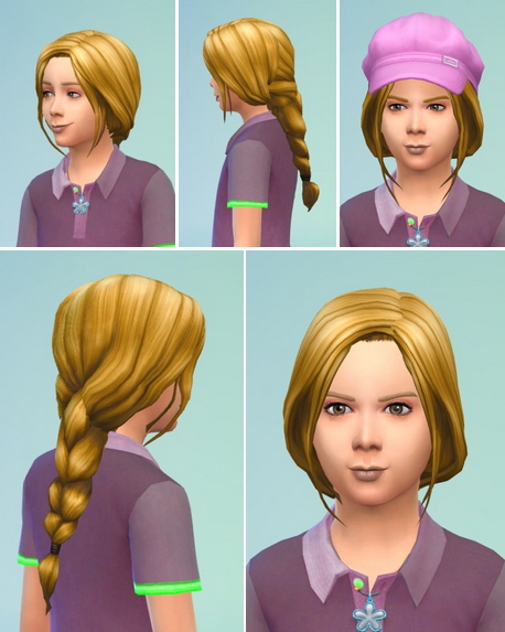 Birksches sims blog: Little Jana's Braided Ponytail hair retextured for Sims 4